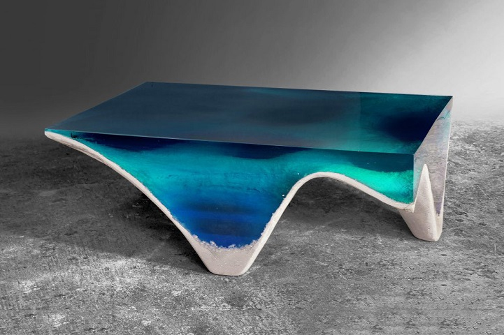 Table Mimics the Layered Depth of the Ocean Floor